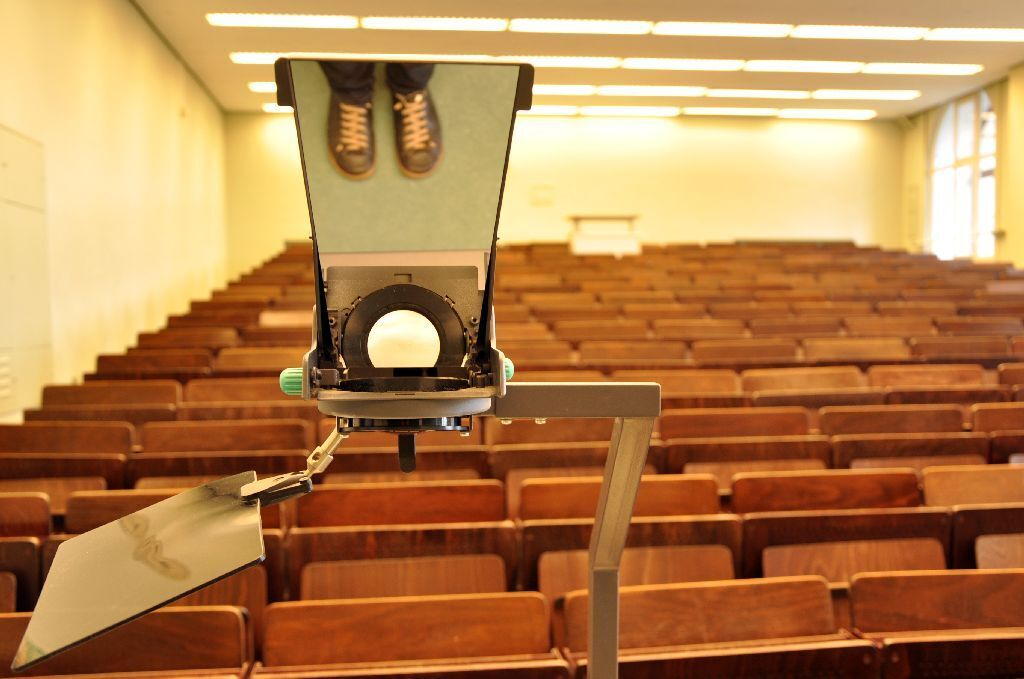 View of empty lecture hall from the front