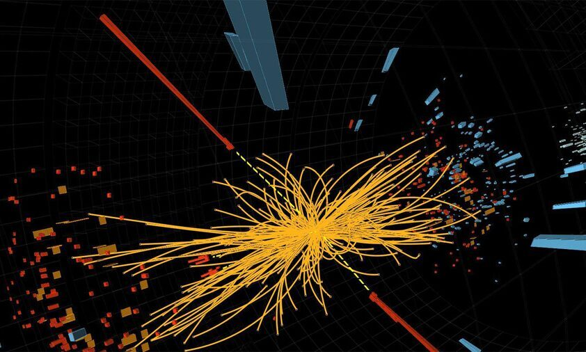 Proton-proton collision event in the CMS experiment