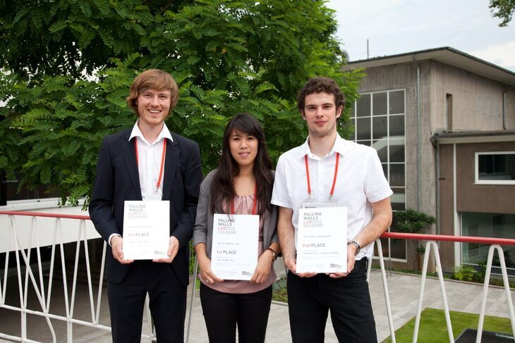 The first, second, and third place winners of the Falling Walls lab