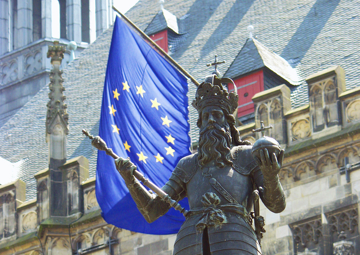 Statute of Charlemagne and a European Flag in Aachen