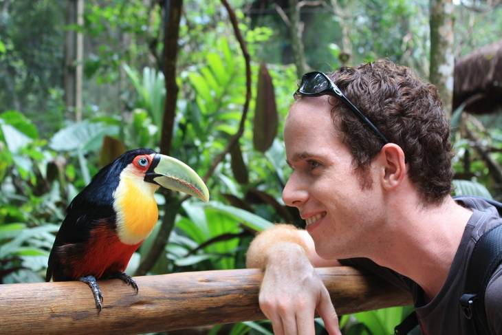 Christoph Albrecht looks at a toucan