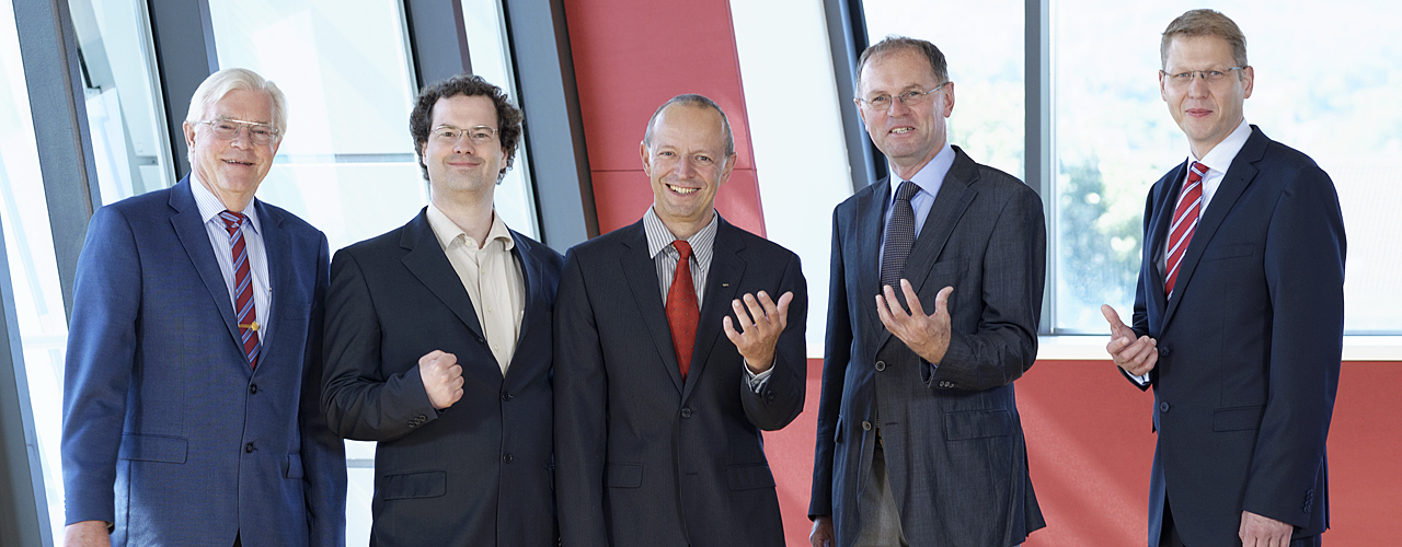 RWTH professors Dieter Enders, Bj�rn Usadel, Ralph Panstruga, Carsten Bolm and Magnus Rueping (from left)