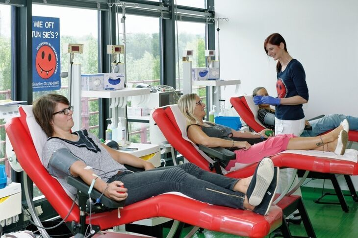 Two women at the blood donation center