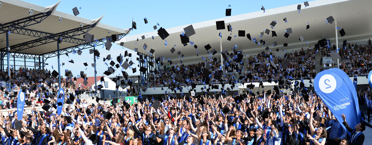 Students throwing their graduation caps into the air