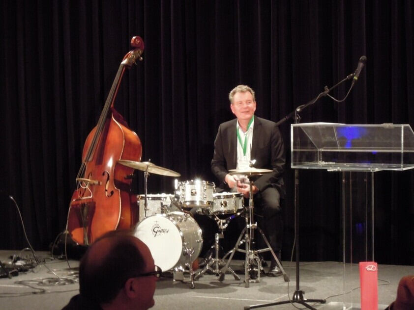 Matthias Wessling on the drums at the Gala Dinner