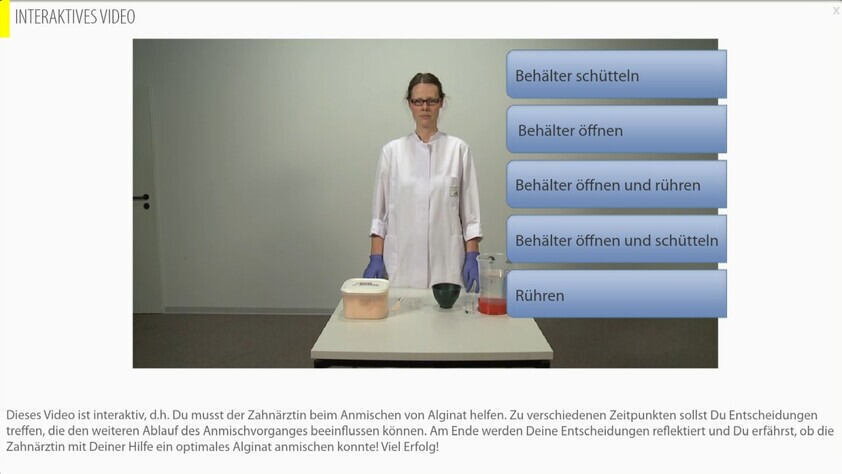 Screenshot of an interactive video with a lab situation