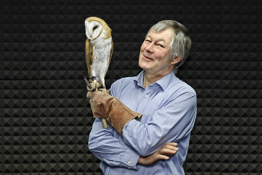 Professor Wagner with a barn owl
